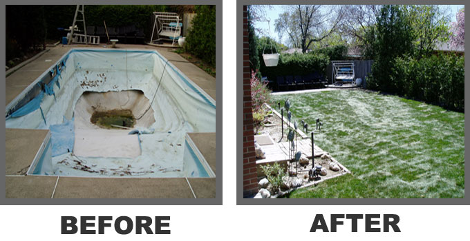 Before and After Swimming Poll Removal Job